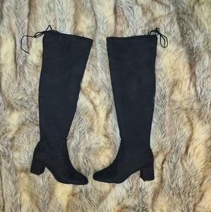 G.I.L.I Sz 8 Black Faux Suede Over the Knee Boots